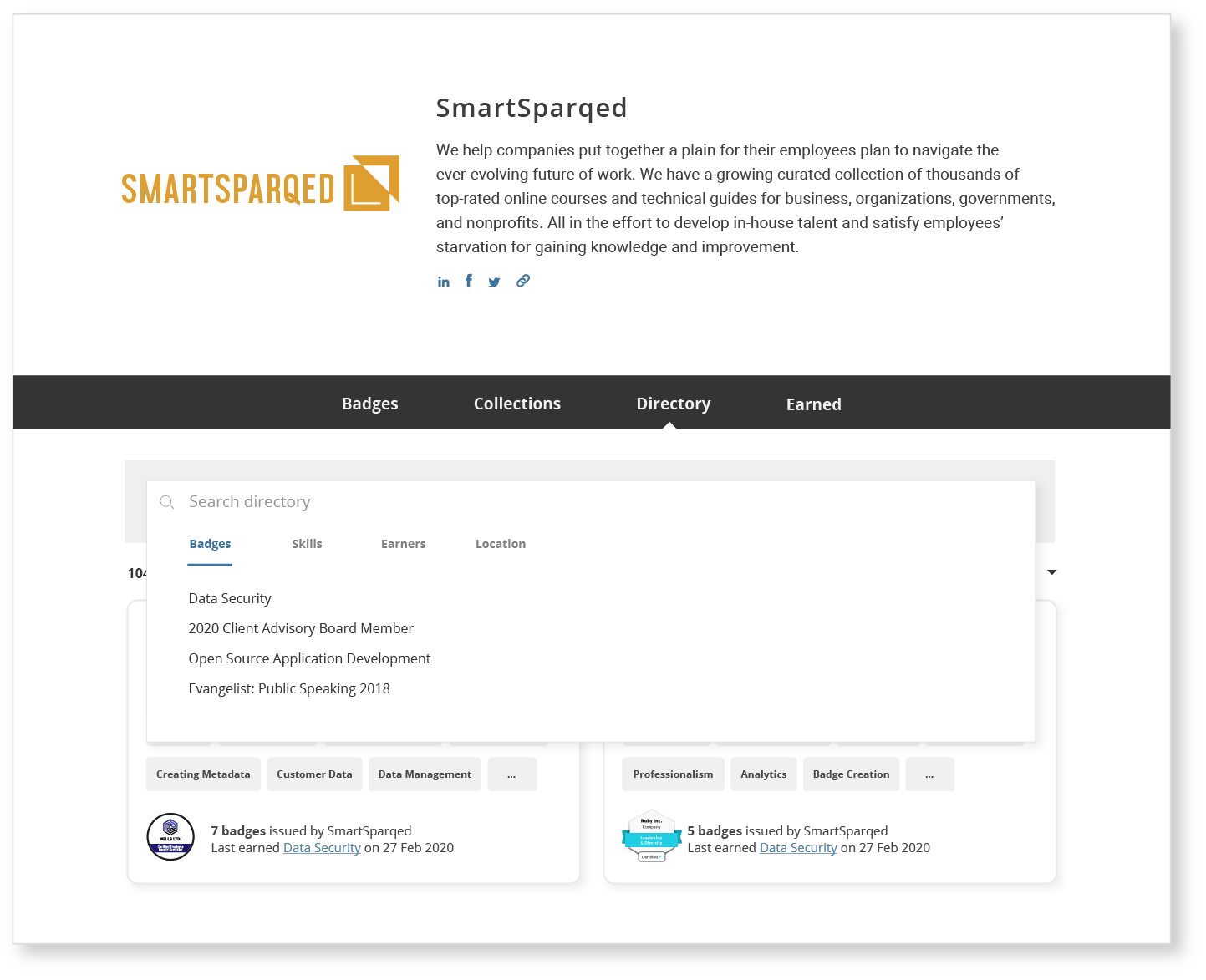Talent Directory search SmartSparqed